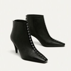 Zara high heel leather ankle boots with studs